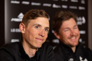 Bahrain McLaren's Dylan Teuns talks to the press ahead of the 2020 Omloop Het Nieuwsblad
