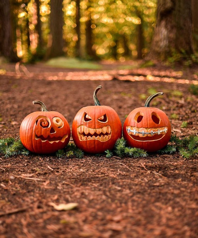 Trio of pumpkin carving ideas with toothy grimace designs