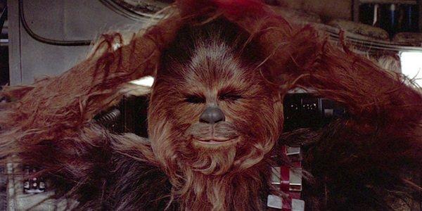 Chewbacca on Millennium Falcon arms behind head