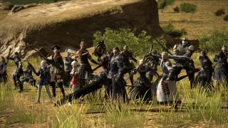 FFXIV characters lined up on a field, looking like they're ready to take on some dastardly enemy.