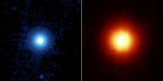 The bright star Vega as seen in two views from NASA's Spitzer Space Telescope. Scientists have detected signs of scorching-hot a Neptune-sized exoplanet orbiting the star.