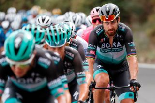 Team Bora rider Slovakias Peter Sagan R rides during the 4th stage of the Giro dItalia 2020 cycling race a 140kilometer route between Catania and Villafranca Tirrena Sicily on October 6 2020 Photo by Luca Bettini AFP Photo by LUCA BETTINIAFP via Getty Images