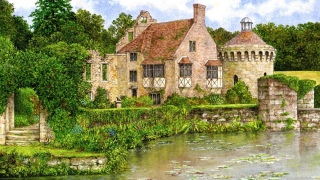 Painting of a house by a river