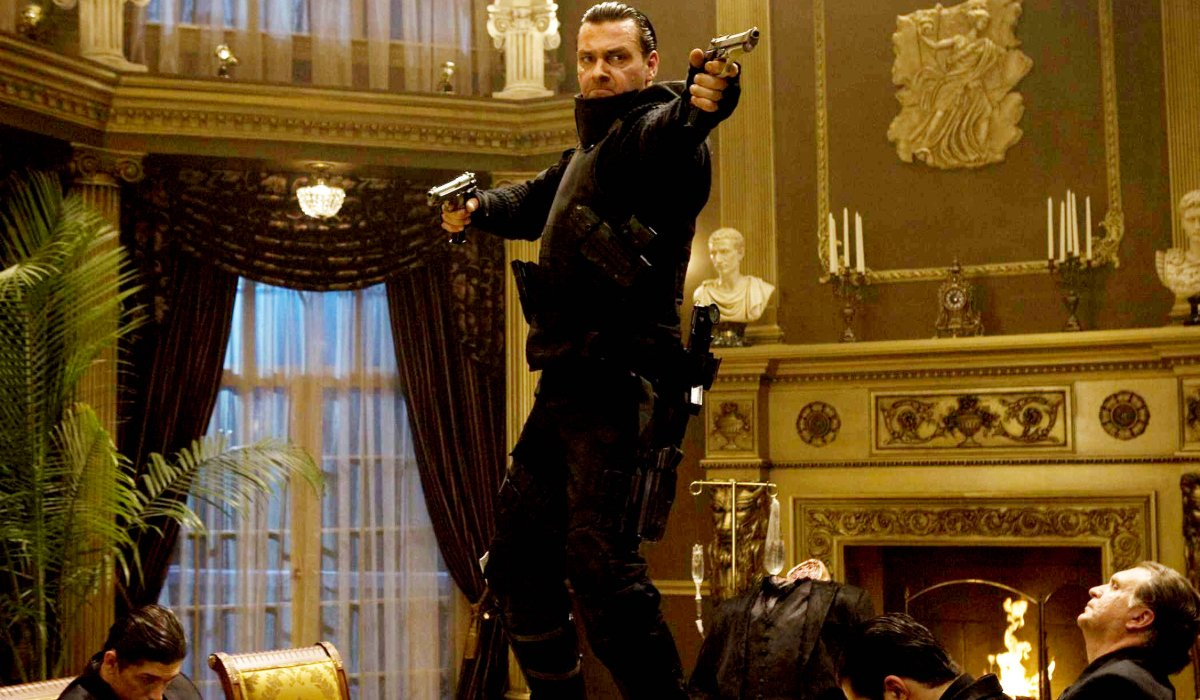 Punisher: War Zone The Punisher shoots up a mob dinner