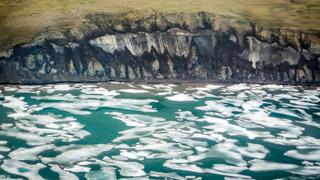 The coastline of the Bykovsky Peninsula in the central Laptev Sea, Siberia