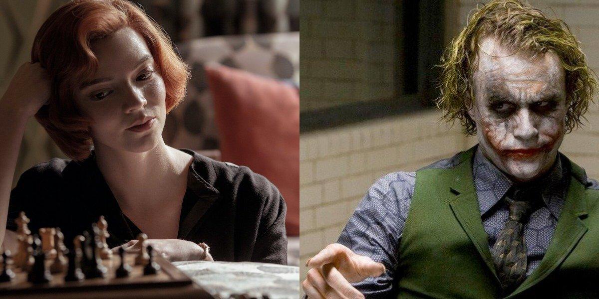 Anya Taylor-Joy in Queen's Gambit and Heath Ledger as Joker in Dark Knight