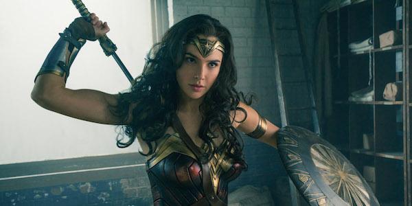 Wonder Woman wielding sword and shield