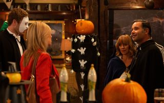 Kim is stunned to realse that Rhona is Grahams mystery woman in Emmerdale