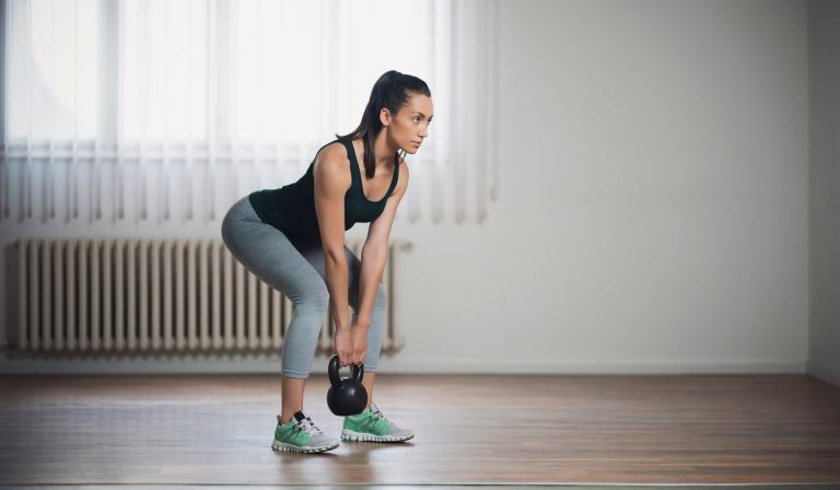 Deadlift with dumbbells and kettlebells at home