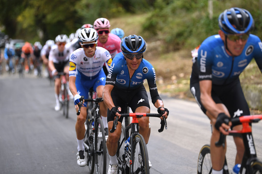 TORTORETO ITALY OCTOBER 13 Domenico Pozzovivo of Italy and NTT Pro Cycling Team James Knox of The United Kingdom and Team Deceuninck QuickStep Joao Almeida of Portugal and Team Deceuninck QuickStep Pink Leader Jersey during the 103rd Giro dItalia 2020 Stage 10 a 177km stage from Lanciano to Tortoreto girodiitalia Giro on October 13 2020 in Tortoreto Italy Photo by Tim de WaeleGetty Images
