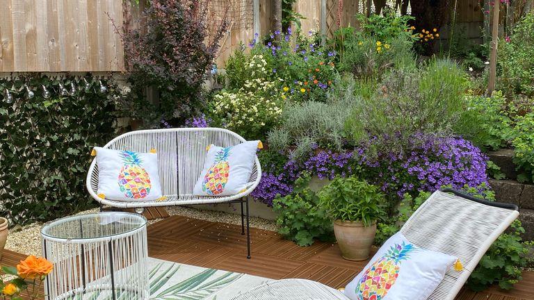 garden courtyard with string furniture