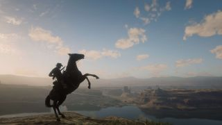 A beautiful vista in Red Dead Redemption 2 with a horse in the foreground