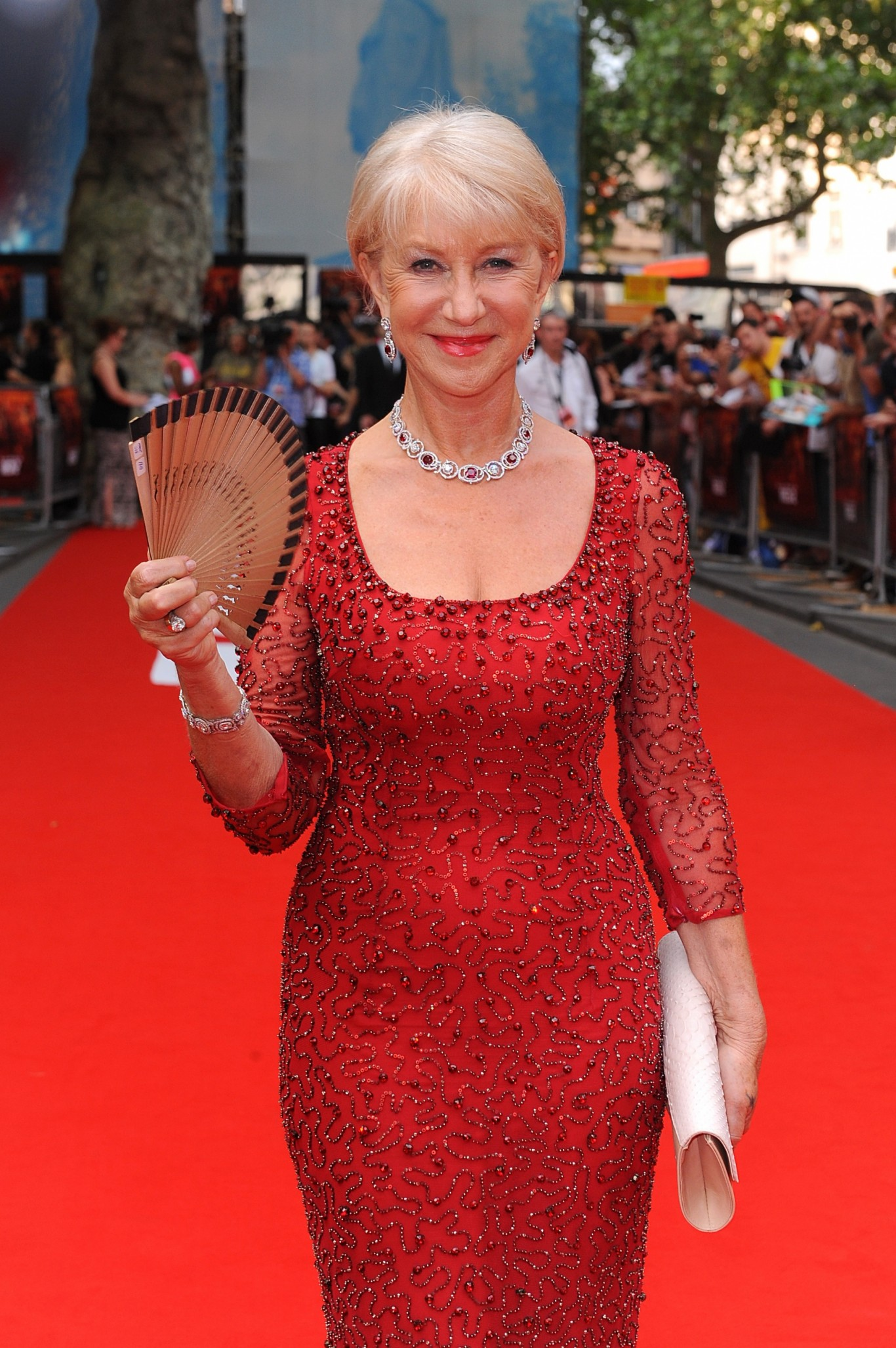Helen Mirren wears a red jewel-encrusted dress to the premiere of Red 2