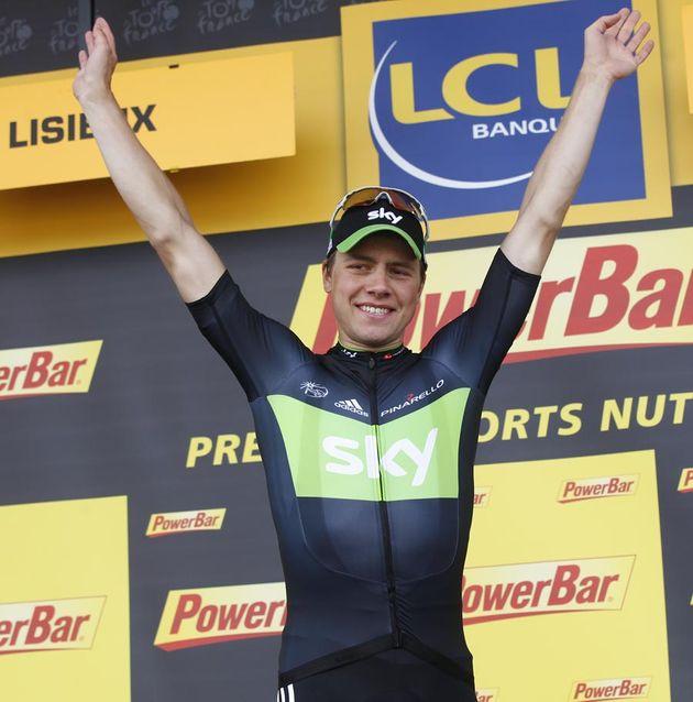 Edvald Boasson Hagen on podium, Tour de France 2011, stage six