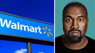 Walmart logo next to Kanye West's face