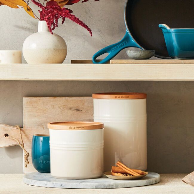 Le Creuset stackable storage cannisters