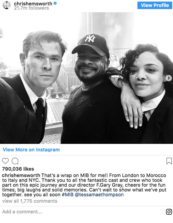 Chris Hemsworth finishes filming Men In Black Reboot with Tessa Thompson