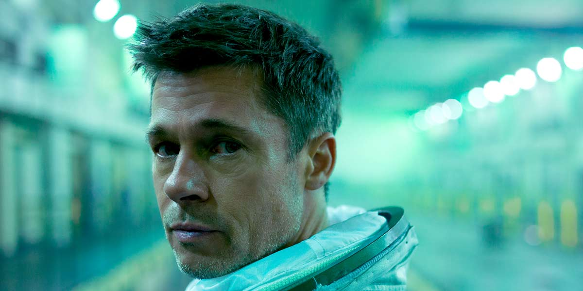 Brad Pitt staring at the camera in Ad Astra in 2019