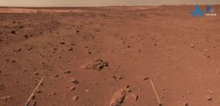 A panoramic camera image showing the terrain ahead of China's Zhurong Mars rover around Aug. 15, 2021
