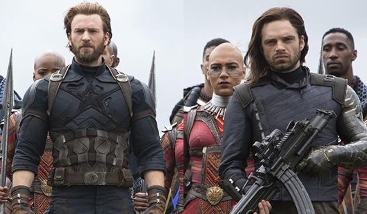 Avengers: Infinity War Cap and Bucky stand with the Wakandans, ready for battle