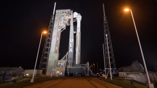 The Atlas V rocket and Starliner spaceraft stand ready for launch at Cape Canaveral Air Force Station in Florida on Dec. 18, 2019.