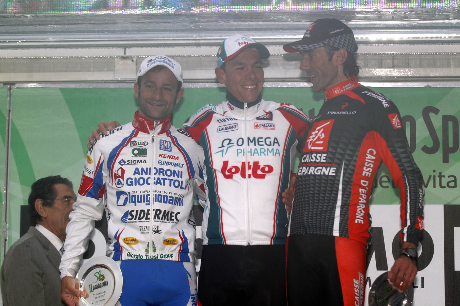 Scarponi, Gilbert and Lastras on the podium, Tour of Lombardy 2010