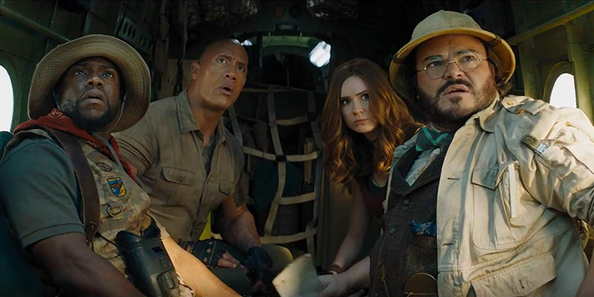 Kevin Hart, Dwayne Johnson, Karen Gillan and Jack Black in Jumanji: The Next Level