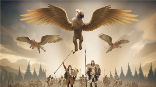 Three griffons flying above an army in A Total War Saga: Troy
