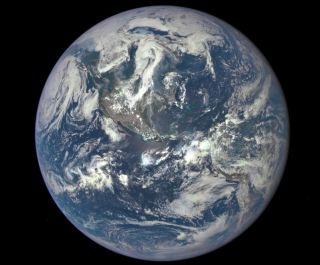 A NASA camera on the Deep Space Climate Observatory satellite captured its first view of the entire sunlit side of the spherical planet Earth, on July 6, 2015.