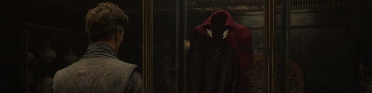 Doctor Strange (Benedict Cumberbatch) looks at the Cloak of Levitation in Doctor Strange