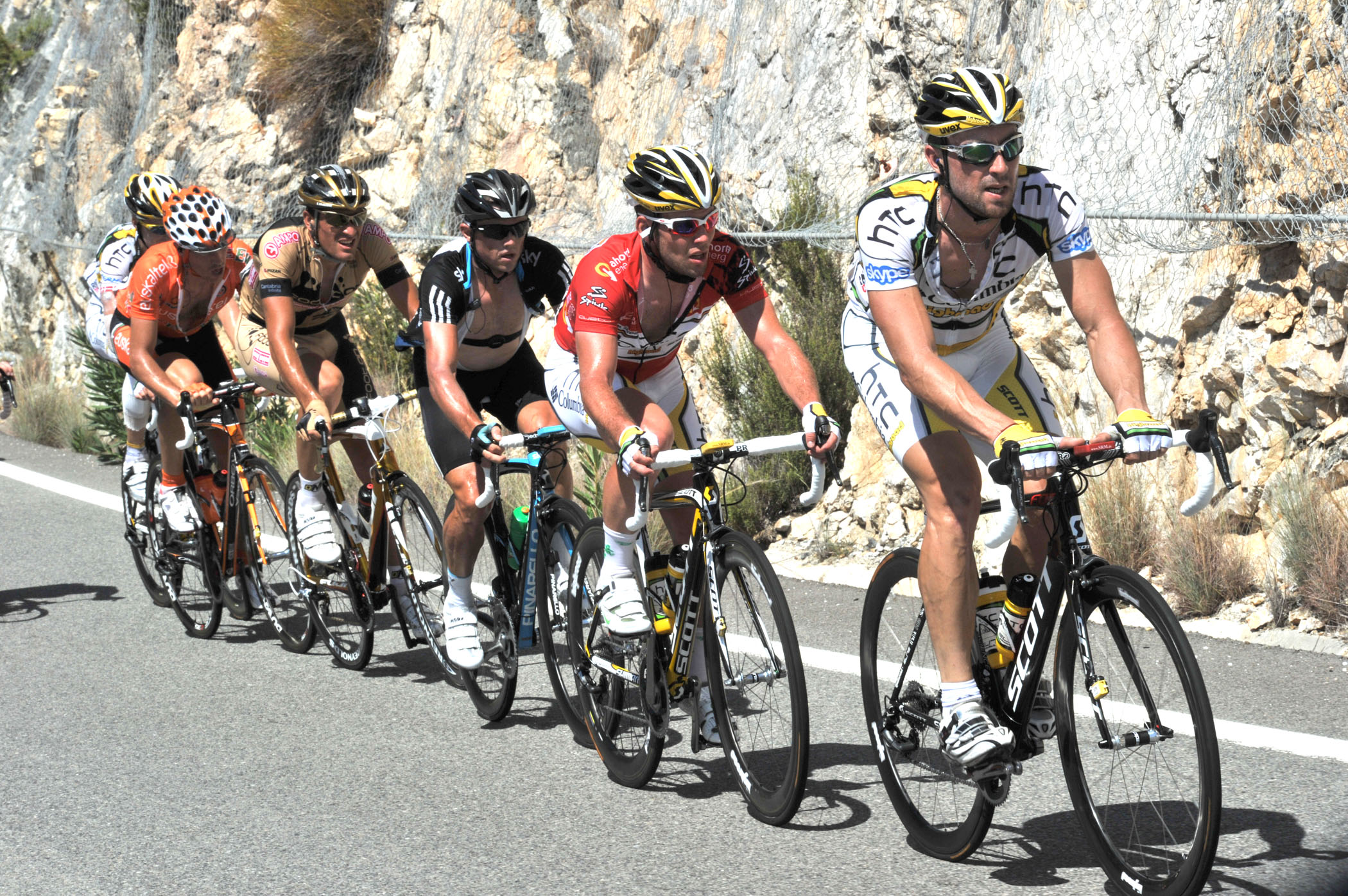 Bernhard Eisel and Mark Cavendish, Vuelta a Espana 2010, stage three