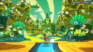 Raz looks out across a psychadelic world filled with eye-plants.
