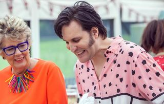 Noel fielding and Judges Prue Leith on GBBO