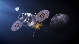 An artist's illustration of NASA's Artemis moon lander fly astronauts to the moon by 2024.