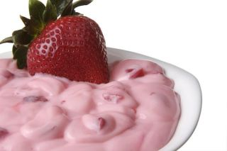 Strawberry Yogurt in Bowl