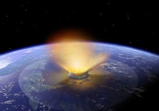 An asteroid is shown crashing into Earth