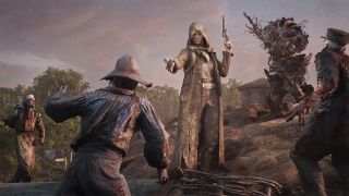 A hunter fighting zombies in Hunt: Showdown