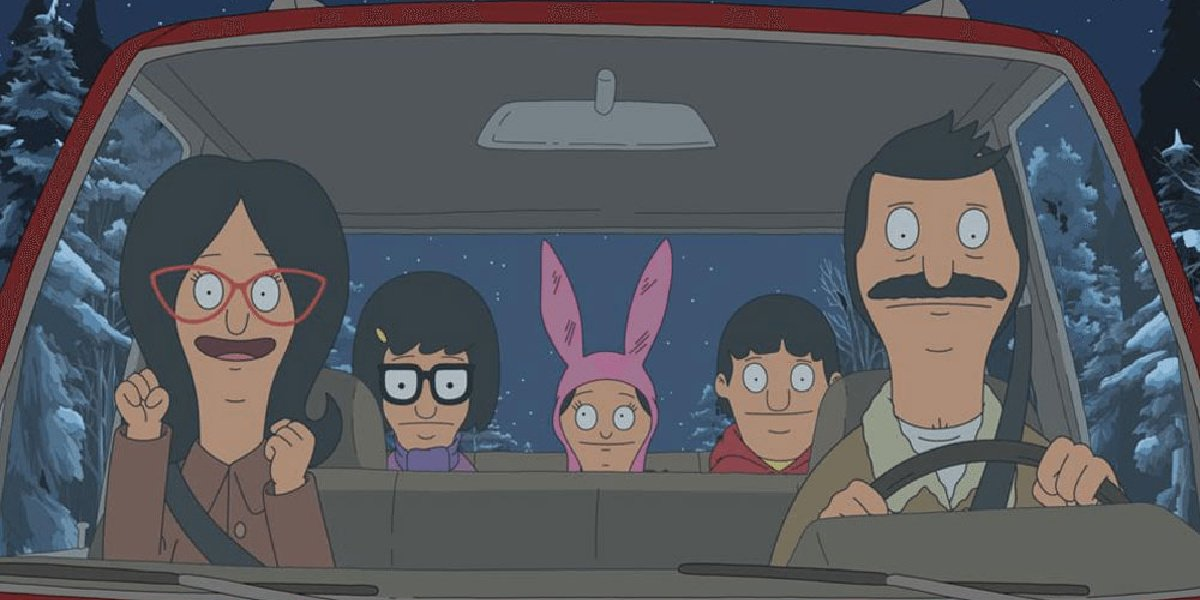 The Belcher family in their car in Bob's Burgers.