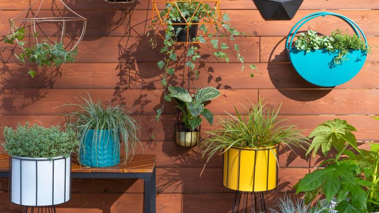 roost episode 2 - a small patio - with wall planters and pots - Pic credit Dunelm