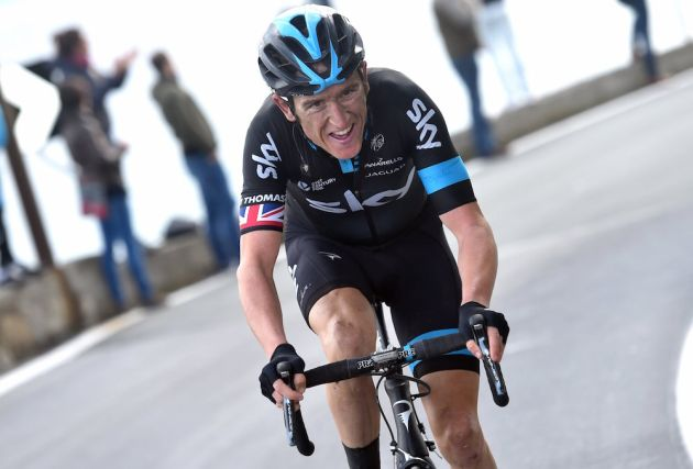 Photo: Geraint Thomas escapes in the 2015 Milan-San Remo .