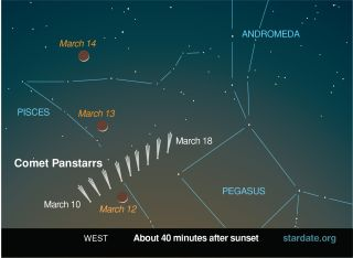 Comet Pan-STARRS is closest to the sun on March 10, 2013 and could be dazzling with the moon on March 12 and 13.