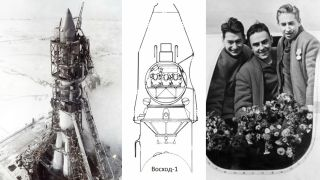 On Oct. 12, 1964, the Soviet Union launched the first multiperson mission, Voskhod 1, which launched three Russian cosmonauts into space. The crew included Vladimir Komarov (commander), Konstantin Feoktistov (engineer) and Boris Yegorov (doctor), shown at right.