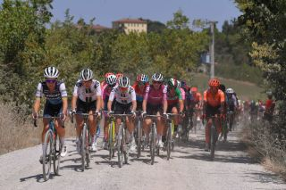 SIENA ITALY AUGUST 01 Elizabeth ArmisteadDeignan of The United Kingdom and Team TrekSegafredo Women Franziska Koch of Germany and Team Sunweb Women Juliette Labous of France and Team Sunweb Women Christine Majerus of Luxembourg and Boels Dolmans Cyclingteam Liane Lippert of Germany and Team Sunweb Women Marta Bastianelli of Italy and Team Ale BTC Ljubljana Soraya Paladin of Italy and Team CCCLiv Dust during the Eroica 6th Strade Bianche 2020 Women Elite a 136km race from Siena to Siena Piazza del Campo StradeBianche on August 01 2020 in Siena Italy Photo by Luc ClaessenGetty Images
