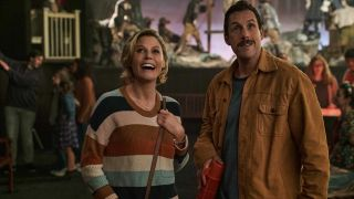 Julie Bowen and Adam Sandler star in 'Hubie Halloween,' a holiday-themed comedy.