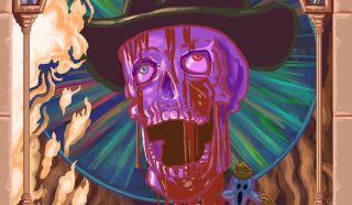 A bleeding skull in a hat