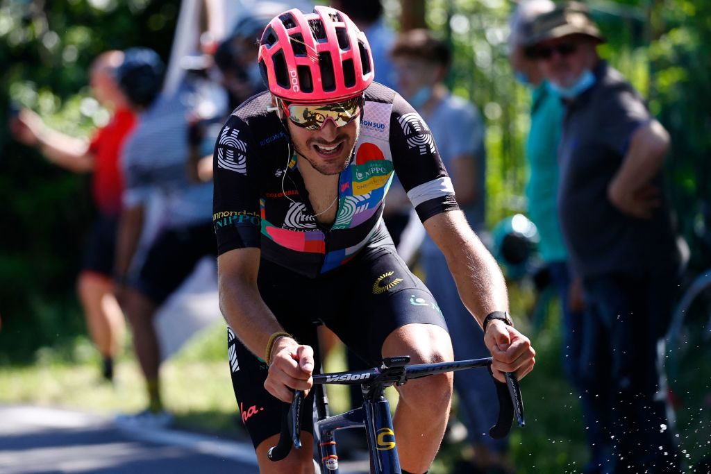 Team EF Education rider Italys Alberto Bettiol attacks in the last kilometers during the 18th stage of the Giro dItalia 2021 cycling race 231km between Rovereto and Stradella on May 27 2021 Photo by Luca Bettini AFP Photo by LUCA BETTINIAFP via Getty Images