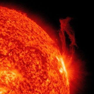 A close-up of one active region on the sun, seen in profile in extreme ultraviolet light, produced an interesting display of dynamic and frenetic sputtering over three days (Aug. 28-30, 2011).
