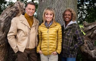 Winterwatch 2019 - pic shows presenters Chris Packham, Michaela Strachan, Gillian Burke on Autumnwatch