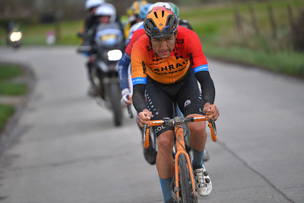 Bahrain McLaren's Heinrich Haussler leads the way at the 2020 Omloop Het Nieuwsblad