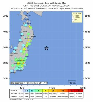 A map showing where people reported feeling the 7.3-magnitude earthquake that struck Dec. 7, 2012, east of Sendai, Japan.